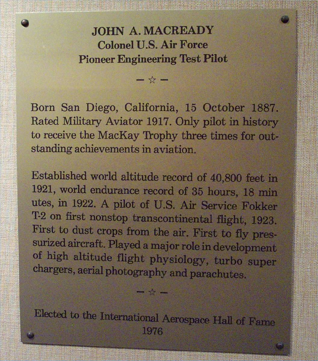 San Diego Chargers Established: Macready, San Diego Air & Space Museum